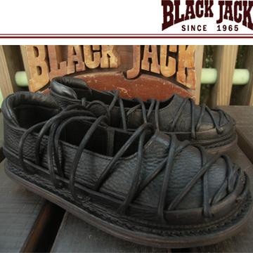 【BLACK JACK 黑傑克足跡舒適鞋】蟑螂款-植物苯染黑牛皮 臘染黑棉繩