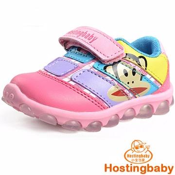 【Hostingbaby小寶當家】X5123梅紅色閃燈大嘴猴童鞋男童學步鞋軟底寶寶鞋春秋女童兒童運動鞋