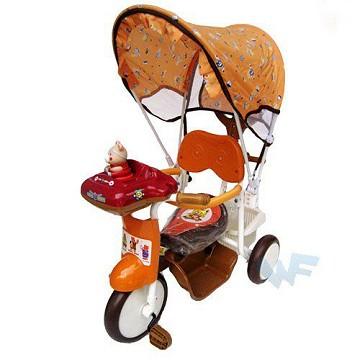 【MIT台灣童車】快樂熊遮陽三輪車 ( 橘 / 紅 )