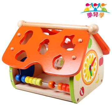 樂兒學 生活認知益智學習木製積木數字/形狀/動物/天氣/時間小屋