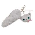San-X 小襪貓貓掌系列貓尾巴絨毛吊飾-小灰貓