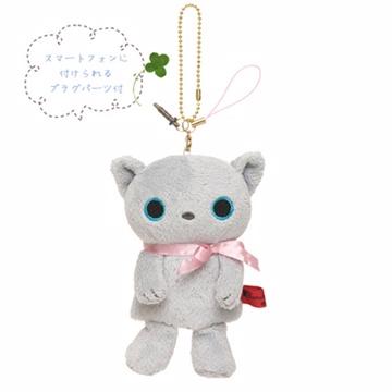 San-X 小襪貓音樂幸運草系列指偶公仔螢幕擦吊飾。小灰貓
