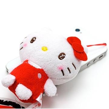 日本限定SANRIO【Hello Kitty可愛絨毛】iphone音源孔防塵塞
