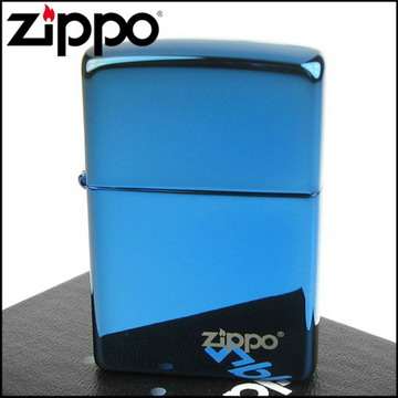 【ZIPPO】美系~LOGO字樣打火機~超質感Sapphire藍寶色鏡面