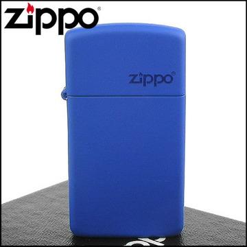 【ZIPPO】美系~LOGO字樣打火機~(窄)Royal Blue Matte寶藍烤漆
