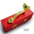 【原藝坊】銅鎏金--金如意擺飾+招正財綠貓眼(長95mm)