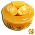 【紅運當家】天然黃玉聚寶盆(93mm)+6只黃玉元寶 優惠組