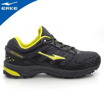 ERKE 鴻星爾克-男運動登山越野跑鞋-正黑/果綠