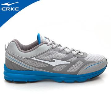 ERKE 鴻星爾克-男運動常規慢跑鞋-淺灰/純青藍