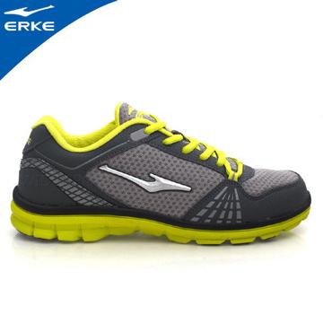 ERKE 鴻星爾克-男運動綜訓慢跑鞋-碳灰/果綠