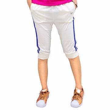 【LEIDOOE】17203 女款休閒運動縮口五分褲-白(藍邊)