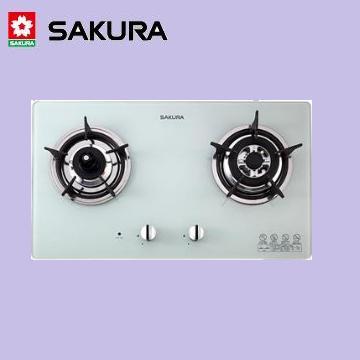 櫻花【雙口防乾燒】節能檯面爐(白色強化玻璃) G-2820KGW