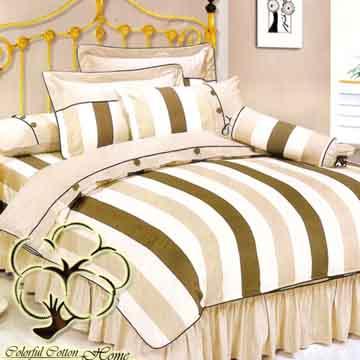 【采棉居寢飾文化館】純棉條紋雙人六件式床罩組