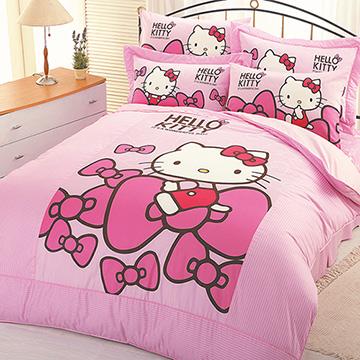 Hello Kitty 蝴蝶結系列-雙人床包涼被組