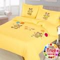 【原色布屋】小熊派對 貼布繡加大四件式被套床包組
