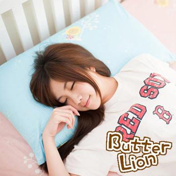 【奶油獅】MIT正版授權100%精梳純棉珍珠球棉枕(大)-水藍