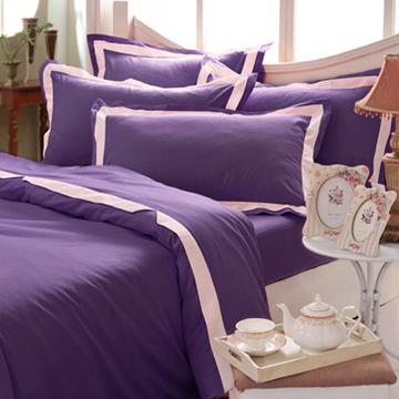 義大利La Belle《美學素雅》單人三件式被套床包組-紫