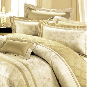 義大利La Belle《小夜曲》加大緹花八件式鋪棉兩用被床罩組