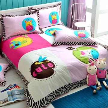 義大利Fancy Belle《動物莊園》單人四件式貼布繡舖棉兩用被床包組