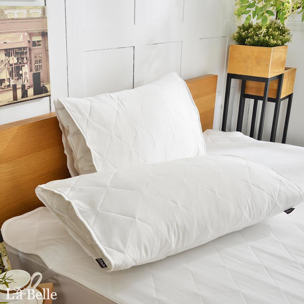 台灣製★義大利La Belle《純白素雅》信封式防潑水保潔枕套--二入