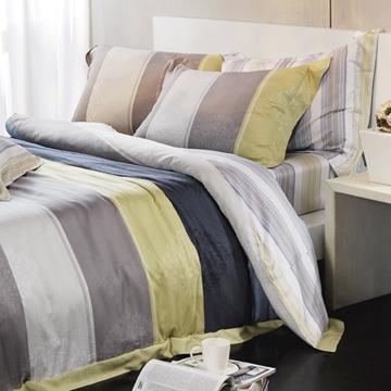 義大利La Belle《藍采爵調》加大天絲八件式鋪棉兩用被床罩組