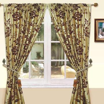 《尊爵》植絨絲光穿掛兩用落地窗簾(金)(290x240cm)