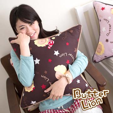 【奶油獅】正版授權搖滾星星方型抱枕-咖啡(一入)