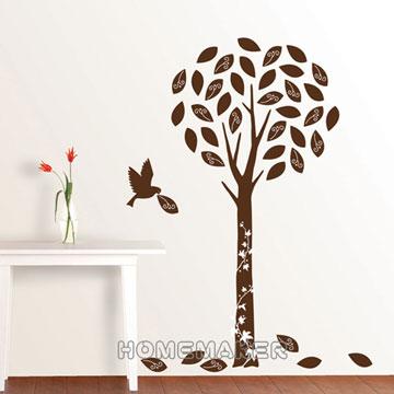 FIXPIX【精靈樹與鳥(絨布)】創意壁貼 (HVS-58608)