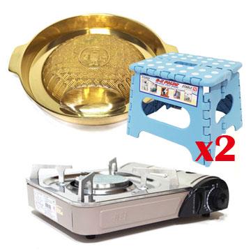 K-ONE卡旺 - 遠紅外線瓦斯爐K1-1200V+韓國原裝進口銅盤烤盤NU-C+折疊椅G-016組合