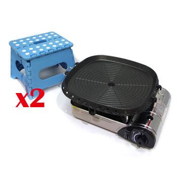 K-ONE卡旺 - 遠紅外線瓦斯爐K1-1200V+火烤兩用直條烤盤NU-G+折疊椅G-016組合