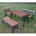 Brother兄弟牌《雙人鑄鐵公園椅(附椅背)+鑄鐵公園桌+無背公園椅+鑄鐵單人椅》