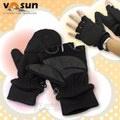 VOSUN 台灣製 最新款 DINTEX 輕量防風防水翻蓋兩用手套.Magic半指手套_V-586 黑