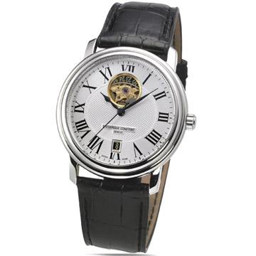 康斯登 Persuasion 心跳系列男用機械皮帶腕錶(白)