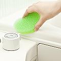 日本製造AISEN兩用式浴室皂盤清潔刷(粉綠)