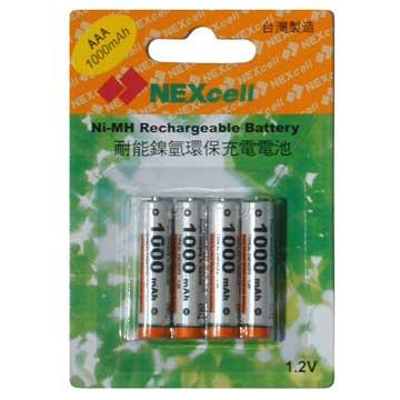 NEXcell 耐能4號充電電池1000mAh四顆