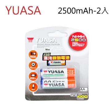 純正日本血統★湯淺電池YUASA 湯淺 三號 AA 鎳氫充電電池 2500mAh (2入)