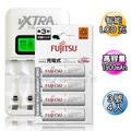 VXTRA飛創 LCD 2.4A急速充電器+Fujitsu低自放電3號1900mAh充電電池 (4顆入)