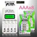 VXTRA飛創 LCD 2.4A急速充電器+4號低自放8顆