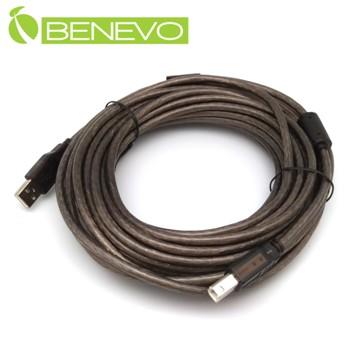 BENEVO專業級 10米 USB2.0 A公-B公 訊號連接線,採128編金屬編織與磁環