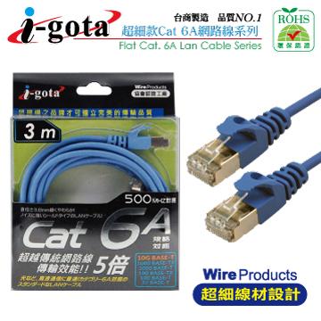 i-gota CAT6a 水藍網路線 細線型3M