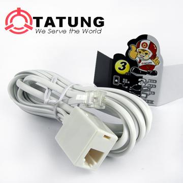 【TATUNG】電話變化延長線(3m/白)TBAV-C146