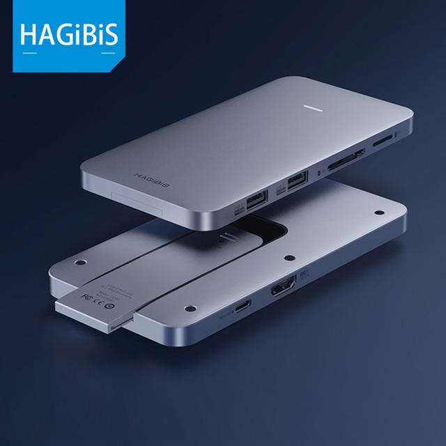 HAGiBiS鋁合金8合1 USB2.0+USB3.1 Gen2*2+HDMI+SD/TF卡槽+PD供電+M.2硬碟盒
