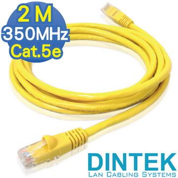 2M Cat.5e 350MHz UTP DINTEK超五類鍍金無遮蔽多股網路線-鮮黃2米(1201-03184)