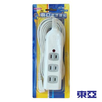 ►全機台灣製造◄ 東亞 一燈四插座 過載保護電源延長線 15尺 TY-108
