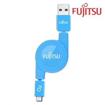 FUJITSU富士通MICRO USB收捲式傳輸充電線(藍)UM200(藍)