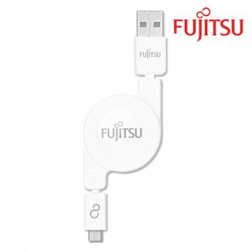 FUJITSU富士通MICRO USB收捲式傳輸充電線(白)UM200(白)