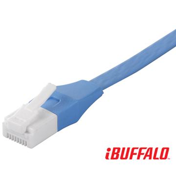 Buffalo 獨家專利水晶頭卡榫反折斷 Cat 6平板網路線(1M)-淡藍