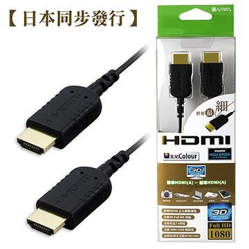 世界超細HDMI線,與日本同步發行! 【CAMKA】HD1120BK 標準HDMI(A) ─ 標準HDMI(A)2.0M