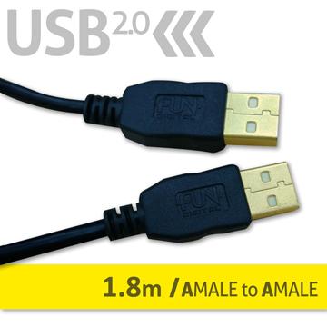 FUNDIGITAL USB2.0傳輸線-A公對A公1.8M-黑