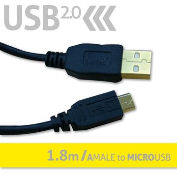 FUNDIGITAL USB2.0傳輸線-A公對MicroUSB1.8M-黑
